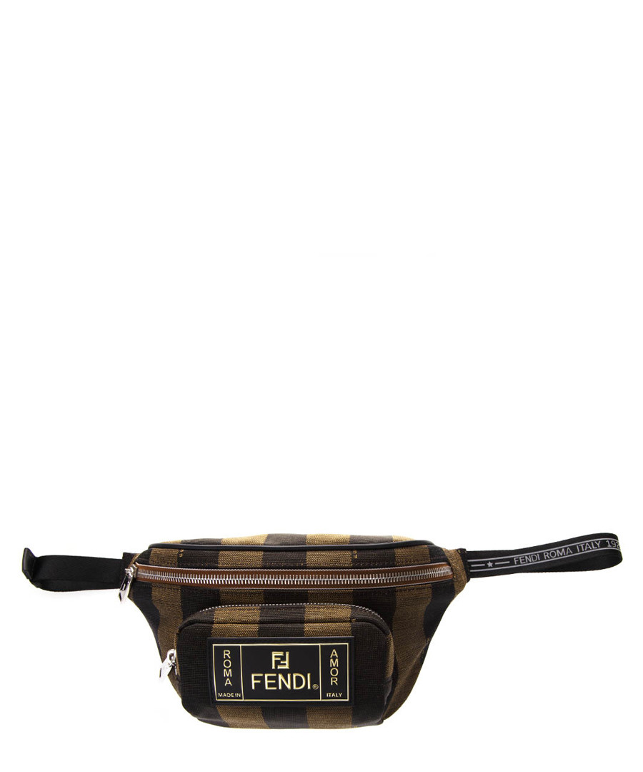Brown logo stripe belt bag Sale - fendi