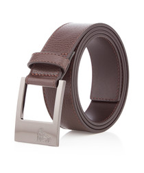 Brown leather minimal belt