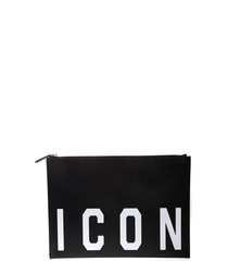 Black leather Icon clutch
