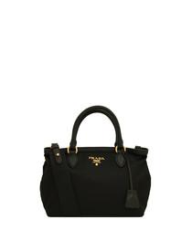 Tessuto black nylon & calf leather bag