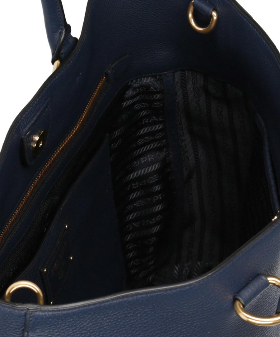 7399d2ea7cfa8e ... Vitello Phenix navy leather tote bag Sale - prada Sale ...