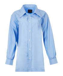 Blue pure cotton utility shirt