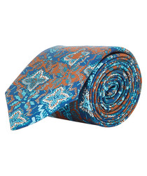 Blue & rust tile pure silk tie