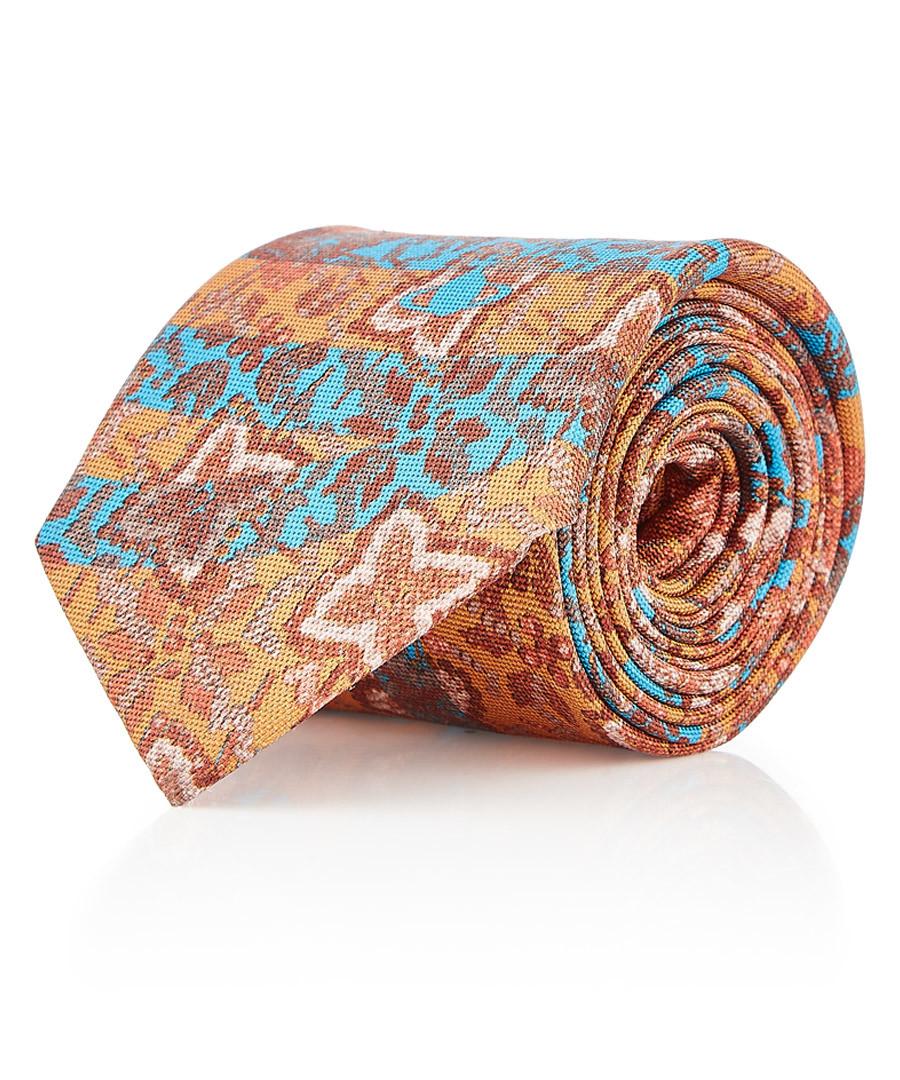 Apricot & aqua tile pure silk tie Sale - VIVIENNE WESTWOOD