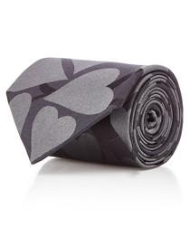 Hearts greyscale pure silk tie