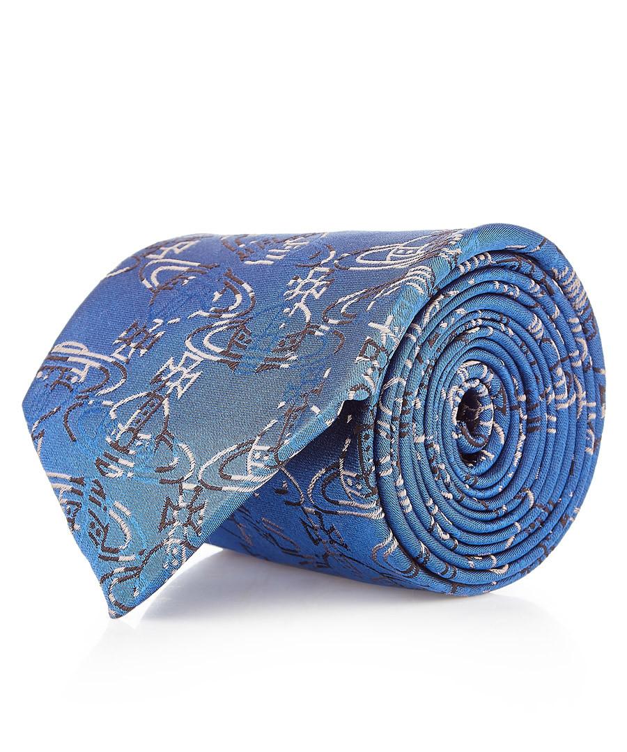 Blue orb pure silk tie Sale - vivienne westwood