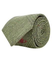 Green pure silk knit tie