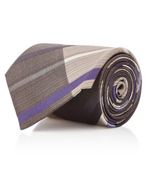 Grey & purple check pure silk tie