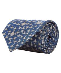 Blue orb dot pure silk tie