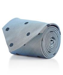 Powder blue polka pure silk tie