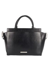 The Portman black leather shopper