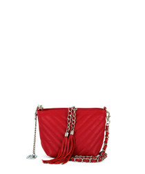 Kira red leather tassel crossbody bag