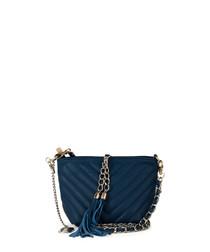 Kira blue leather crossbody bag