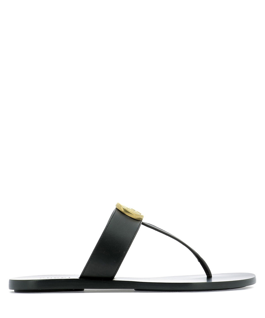 black leather thong sandals Sale - gucci