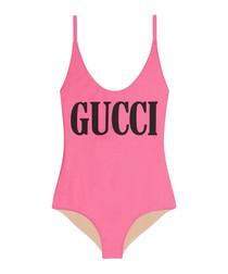 Pink logo swimsuit