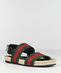 pine stripe nylon & leather sandals