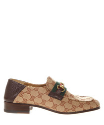 GG brown leather & canvas loafers
