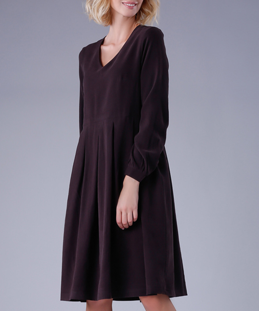 Graphite long sleeve shift dress Sale - peperuna