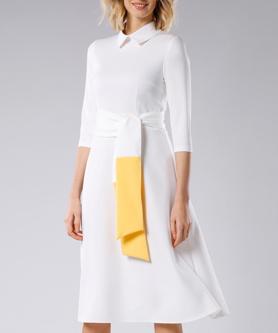 White & lemon tie-waist dress Sale - PEPERUNA