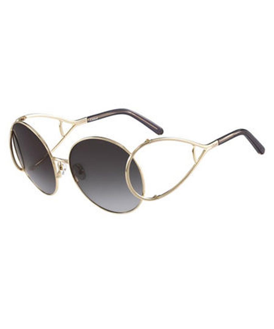 f426e6f42f84 gold-tone   blue round sunglasses Sale - chloe