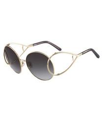 gold-tone & blue round sunglasses
