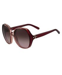 burgundy squared sunglasses