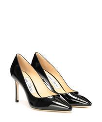 Romy 85 black patent court heels
