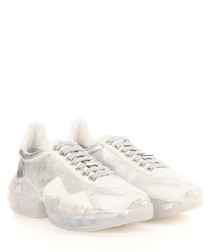 Diamond silver & white leather sneakers
