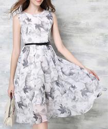 Greyscale leaf sleeveless dress