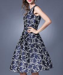navy net A-line dress