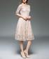 beige lace half sleeve dress Sale - yisq Sale