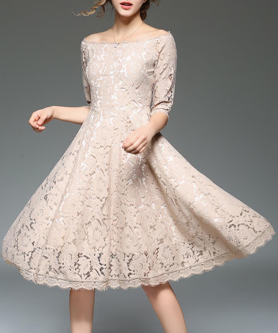 beige lace half sleeve dress Sale - yisq