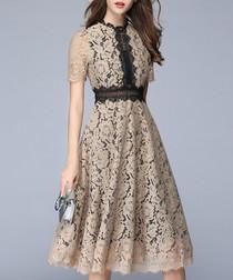 beige & black lace dress