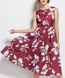 wine floral sleeveless dress