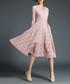 rose lace 3/4 sleeve V-neck dress Sale - yisq Sale