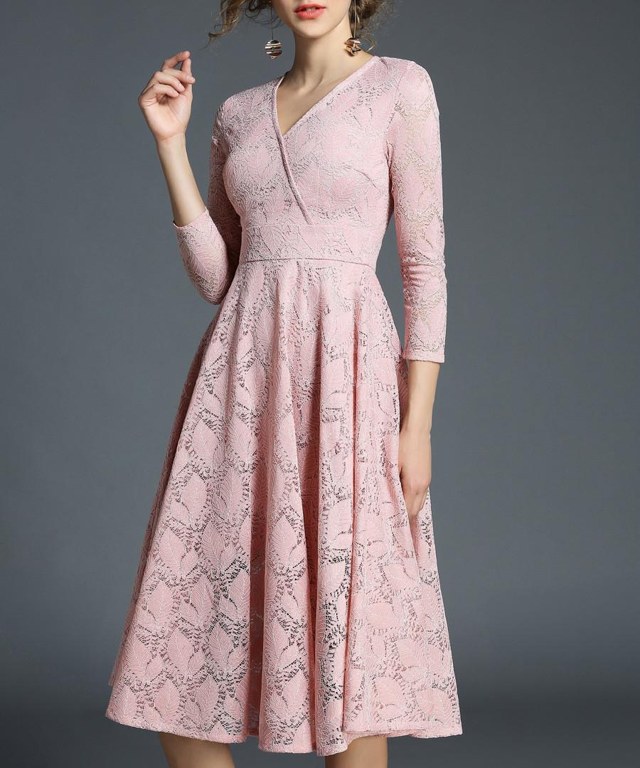 rose lace 3/4 sleeve V-neck dress Sale - yisq