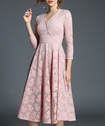 rose lace 3/4 sleeve V-neck dress