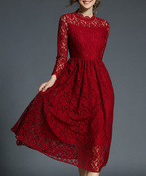 maroon lace collar detail dress
