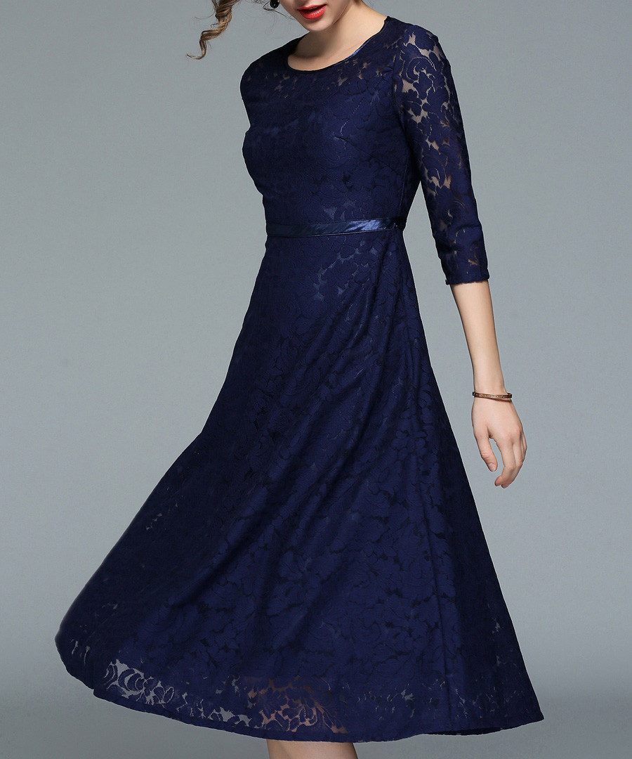 navy lace sleeve dress Sale - yisq