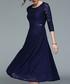 navy lace sleeve dress Sale - yisq Sale