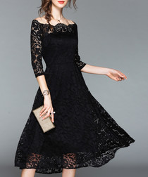 black lace collar dress