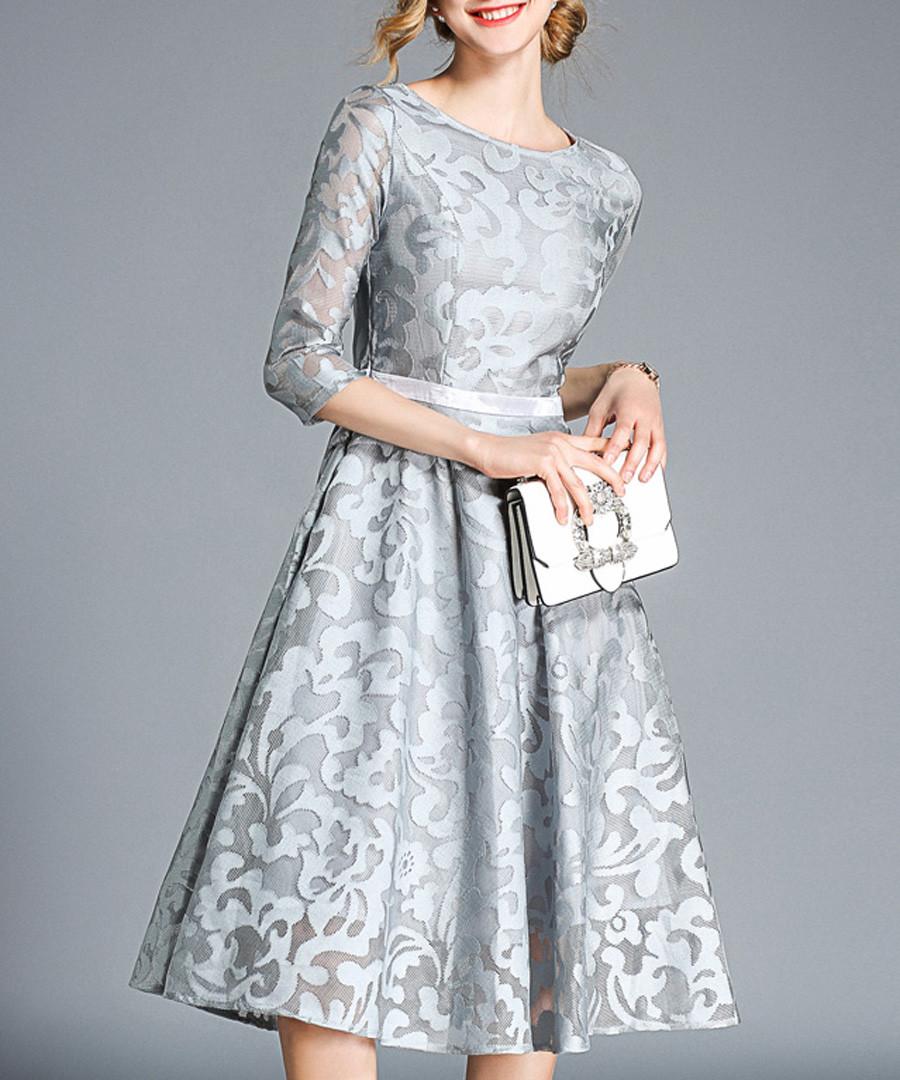 grey sheer sleeve dress Sale - yisq