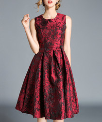 red brocade sleeveless A-line dress