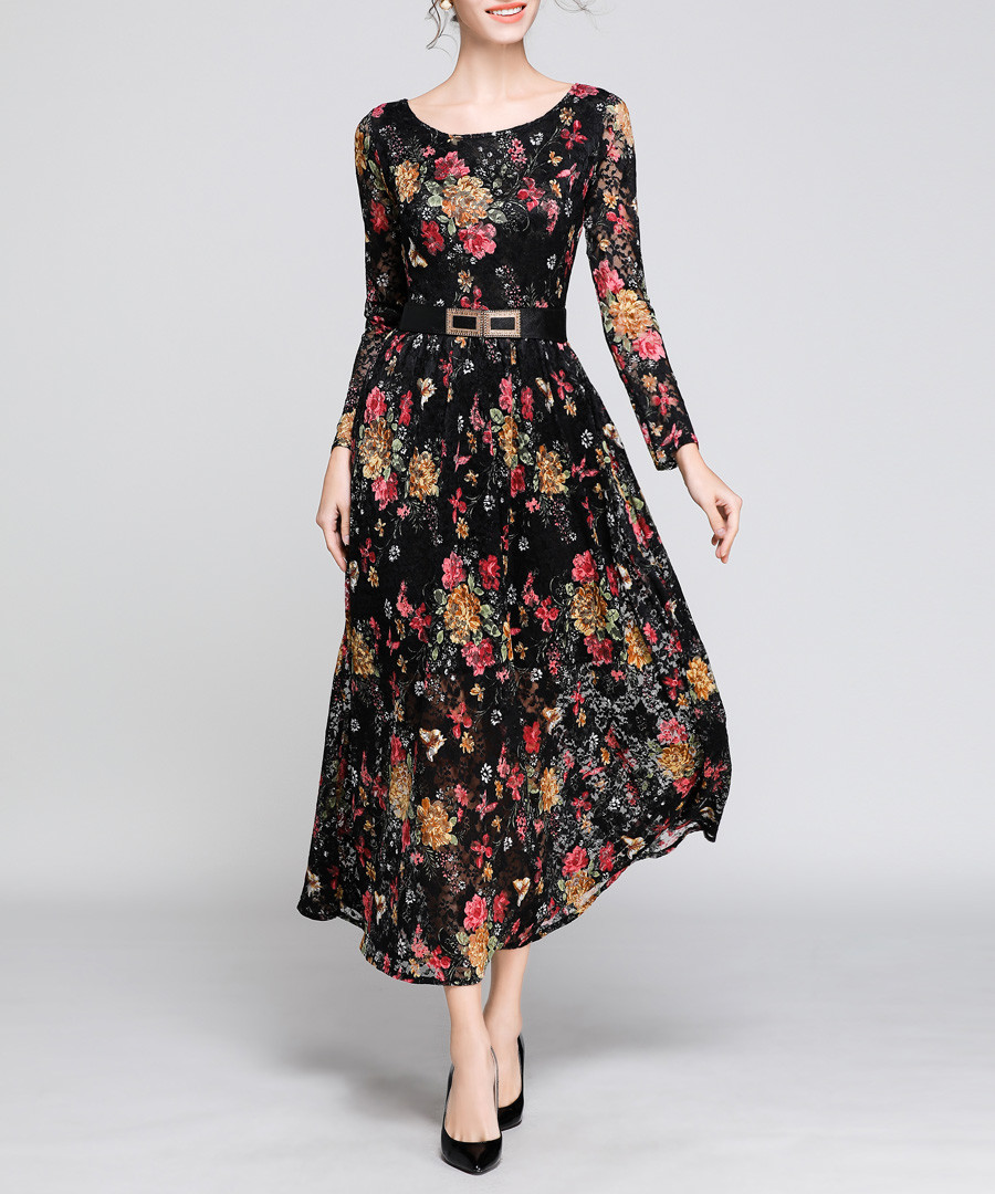 black floral spray midi dress Sale - yisq