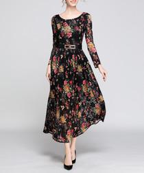 black floral spray midi dress