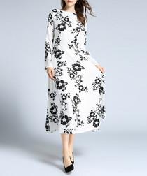 white floral long sleeve midi dress