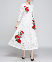 white & red floral lace midi dress