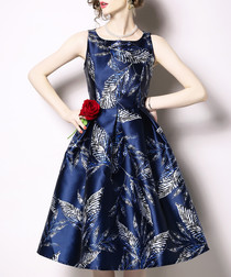 navy satin sleeveless A-line dress