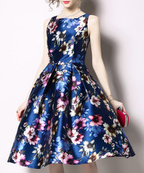 navy floral satin sleeveless skater dress