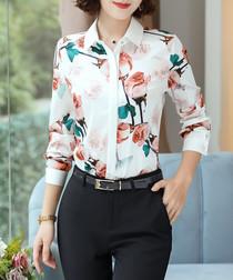 White & pink rose print blouse